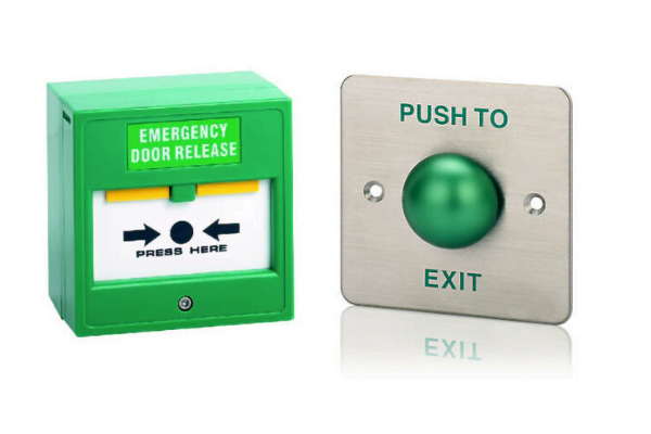 Break glass & press to exit button